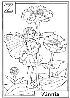 Fairy printable colouring page.  Z is for Zinnea