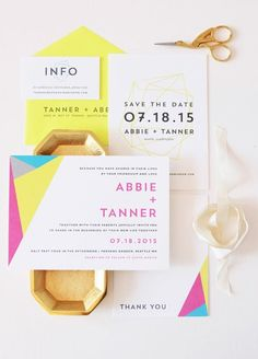 These Geometric Wedding Invites Are Everything Your Modern Dreams Are Made Of via Brit + Co