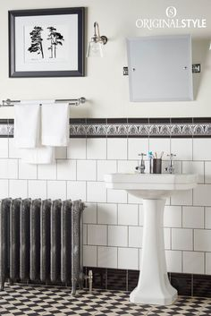 Wall tiles by Original Style, Artworks Range, Jet Black Parthenon. Mix these hand decorated Parthenon border tiles with Brilliant White field tiles to create a classic bathroom. Looks great with Harlequin Black Large on White from the Odyssey range by Original Style.