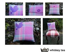 Vintage woollen blanket appliqué cushion