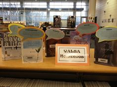 Use book talkers to advertise books. They will fly off the shelf! Class Library, Elementary Library, Library Design, Library Books, Library Inspiration, Library Ideas, Book Displays, Library Displays, Shelf Talkers