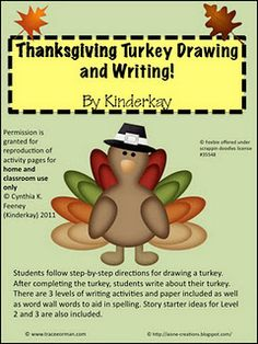 Thanksgiving Turkey Draw and Write Pack- repinned by @PediaStaff – Please visit http://ht.ly/63sNt for all (hundreds of) our pediatric therapy pins