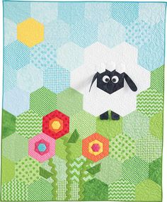 Sheep Shape quilt pattern: Easy to piece, this sweet crib quilt designed by Deonn Stott is made from pieced and folded hexagons. Brightly colored flowers and a fluffy sheep are sure to make this baby quilt a favorite for any little one! Mini Quilts, Baby Quilts, Quilting Projects, Quilting Designs, Animal Quilts, English Paper Piecing, Quilt Making, Quilt Patterns, Hexagon Quilt Pattern