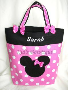 Pink Minnie Mouse Personalized Bag - Monogrammed Diaper Bag via Etsy