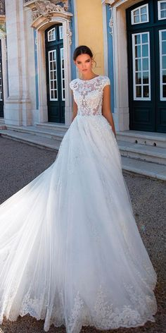 10 Wedding Dress Designers You Want To Know About ❤ wedding dress designers ball gown lace illusion neckline with short sleeves milla nova ❤ See more: http://www.weddingforward.com/wedding-dress-designers/ #weddingforward #wedding #bride