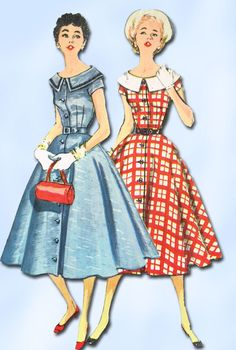 1950s Vintage Misses' Day Dress Uncut  Simplicity Sewing Pattern 1031 Size 12 #Simplicity #DayDress