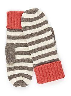 2-tone stripe mittens