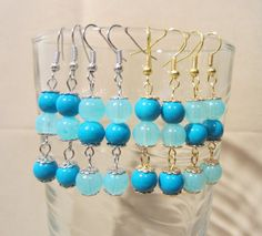Turquoise & Light Blue Glass Bead Dangle Earrings by Pizzelwaddels, $9.97