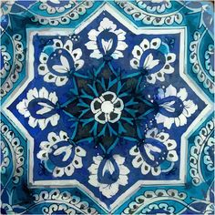 Tile decal : Indian Blue pottery diamond design by Bleucoin