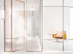 her bathroom, high-end, luxury, paster colours, blazed tinted partition, armchair, marble