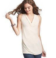 Petite Ruched Cowl Neck Shell - An endlessly flattering cowl neckline - and refined ruched detail - elevates this soft jersey style into a girly glam staple. Sleeveless.