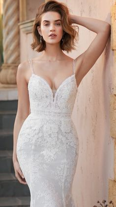 Beaded Spaghetti Straps on a slight plunge neckline over a layering of two different types of vintage Chantilly lace atop a stretch lining for added comfort and fit. Prom Dresses Blue, Bridal Dresses, Wedding Dressses, Next Fashion, Chantilly Lace, Vintage Lace, The Dress, Marie, Wedding Scrapbook