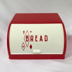 Vintage 40s 50s Deco Red Diamond Starburst Plastic Bread Box Kitchen