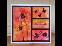 handmade greeting card from Wendy's Craft: Lavinia Stamps Challenge! split panel design with hot color Brushos panel over black background . silhouette stamping in black on vivid artsy panel . Butterfly Cards, Flower Cards, Mix Media, Sympathy Cards, Greeting Cards, Lavinia Stamps Cards, Watercolor Cards, Watercolor Background, Card Sketches
