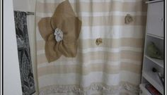 Lace And Burlap Shower Curtain
