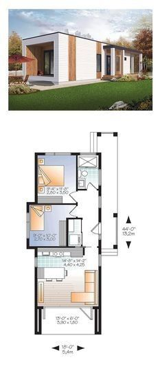 Modern House Plan 76460 Total Living Area 631 sq ft 2 bedrooms and 1 bathroom Modern House Plans, Small House Plans, House Floor Plans, Tiny House Design, Modern House Design, Building A Container Home, Container Homes, Casas Containers, Bedroom House Plans