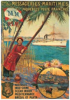 Asian inspired vintage reproduction canvas featuring travel advertisement of Messageries Maritimes French cruise line from Australia to Noumea. Add an exotic tropical touch to coastal décor. - Canvas