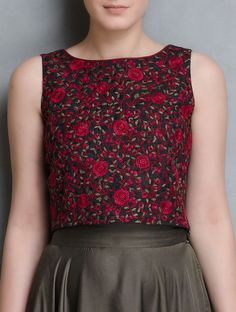 802439b92ff548 Black-Red Thread Embroidered Silk Crop Top