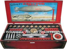 Erector Sets and Other Metal Construction Toys at Girders & Gears Antique Toys, Vintage Toys, Magic Sets, Toys Land, Hobby Toys, Science Kits, Childhood Days, Old Toys, Zeppelin