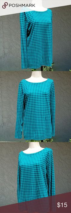 """Talbots Buffalo Check Boat Neck Blouse MEASUREMENTS:  🛍 Shld - Shld 15"""" 🛍 Bust 20"""" across  🛍 Sleeve 24"""" 🛍 Waist 40"""" 🛍 Length 25""""  CONDITION: No holes, No stains SIZE: Large  100% Cotton  Talbots green and black Buffalo check blouse Long sleeves, boat neck Soft cotton Talbots Tops Blouses"""