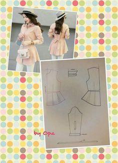 Easy Sewing Patterns, Dress Making Patterns, Blouse Patterns, Clothing Patterns, Blouse Designs, Blouse Dress, Diy Dress, Sewing Blouses, Sewing Lessons