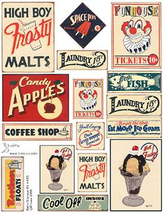 Vintage sign collage.     I absolutely love ventage signs from the 50's and 60's. They are a great example of great typography.