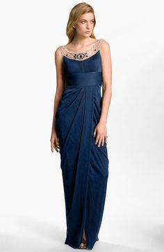 Adrianna Papell Embellished Draped Mesh Gown available at #Nordstrom