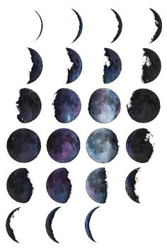Watercolor moons.