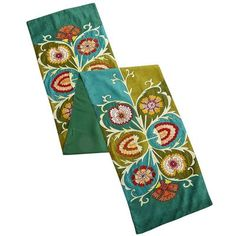 Colors might be too bold for this table...Solstice Floral Embroidered Table Runner