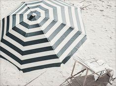 Striped beach umbrella.