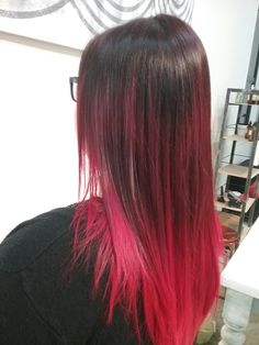 Red Ombre/balayge into 'V' cut Red Ombre, V Cuts, Long Hair Styles, Chair, Beauty, Long Hairstyle, Long Haircuts, Stool, Long Hair Cuts