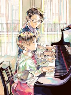 Roderich teaching young Feliciano how to play the piano - Art by GAT