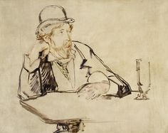 Édouard Manet (French, 1832–1883). George Moore (1852–1933) at the Café,1878 or 1879. The Metropolitan Museum of Art, New York. Gift of Mrs. Ralph J. Hines, 1955 (55.193) #mustache #movember