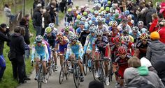 The Italian Astana rider Enrico Gasparotto (C) rides during the 47th Amstel Gold Race in Eys, on April 15, 2012. AFP PHOTO / ANP / BAS CZERWINSKI netherlands out