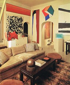 mid century modern inspired living room featured in ad spain