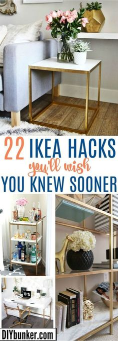 Ikea Hacks: Furniture DIYs Thatll Save You so Much Money These 22 Ikea Hacks AMAZING! I love all the ways you can DIY your own furniture on the cheap! The post Ikea Hacks: Furniture DIYs Thatll Save You so Much Money appeared first on Schreibtisch ideen. Ikea Hacks, Hacks Diy, Home Hacks, Diy Hanging Shelves, Floating Shelves Diy, Design Ikea, Diy Y Manualidades, Kallax, Home And Deco