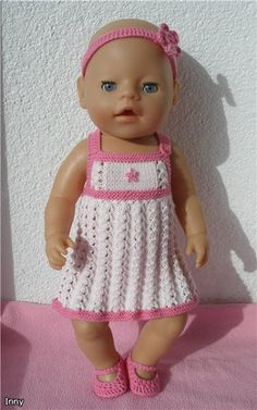 Crochet Doll Dress, Knit Crochet, Doll Clothes Patterns, Clothing Patterns, Baby Born Kleidung, Baby Born Clothes, Barbie, Baby Dress, Free Pattern