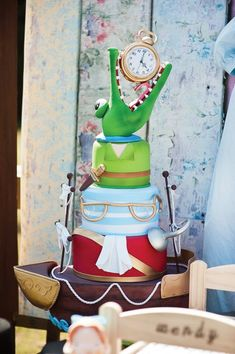 Lots of fun activities, book painted sugar cookies, handmade tote bags, party favors and amazing Peter Pan ship cake all fill this Neverland + Peter Pan Party