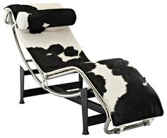Le Corbusier Style LC4 Chaise in White  Black Pony Hide - modern - day beds and chaises - LexMod