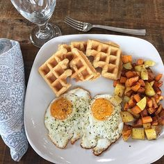"""""""Saturday brunch!  Free range, soy free, organic eggs. @primalpalate breakfast potatoes from #MIP2 Extra Crispy Waffles from #EveryLastCrumb by @brittany_angell...my 9 year old made the waffles while I made eggs and potatoes!  Both girls set the table together to make it fancy   #paleobreakfast #paleobrunch"""" Photo taken by #paleohope ,"""