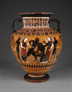 Attic Black-Figure Neck Amphora; Attributed to Group E (Workshop of Exekias) (Greek (Attic), active 560 - 540 B.C.); Athens, Greece; about 550 B.C.; Terracotta; 35.4 x 18.7 cm (13 15/16 x 7 3/8 in.); 85.AE.376