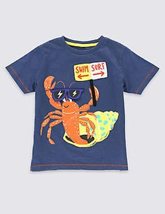 Pure Cotton Crab Print T-Shirt (1-7 Years)