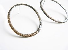 Mixed Metal Earrings,hoop post earrings, bronze earrings, hoop earrings gold, hoop post earrings, Statement Hoops, bronze hoop earrings by lucialaredo on Etsy