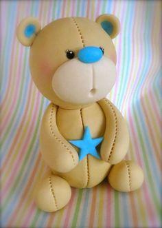 Fondant Teddy Bear Cake Topper by LikeButter by LikeButter on Etsy… Fondant Teddy Bear, Teddy Bear Cakes, Teddy Bears, Fondant Cake Toppers, Fondant Cakes, Cupcake Toppers, Decors Pate A Sucre, Fondant Animals, Fondant Tutorial