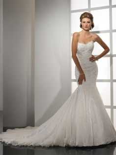 (NO.0257958)2012 Style Trumpet / Mermaid Sweetheart  Lace Sleeveless Court Trains Tulle  Wedding Dresses For Brideses