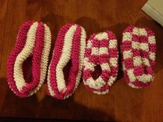 Phentex knit slippers--never again will I use phentex. It is my nemesis. Angela made checkered. I made stripes.