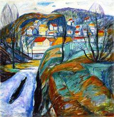 Edvard Munch - Kragerø in Spring, 1929. Oil on canvas