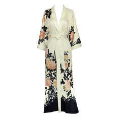 Print Kimono Long Robe - Blush Rose