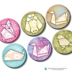 Origami Animals 1 inch circles bottle caps printables by InkFive, $3.99