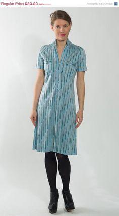 50 OFF SALE 1980's Blue Dress  Vintage 1990's Gray by mijumaju, $16.50